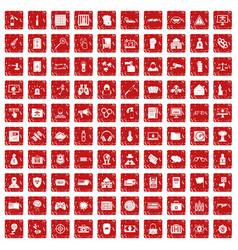 100 hacking icons set grunge red vector image