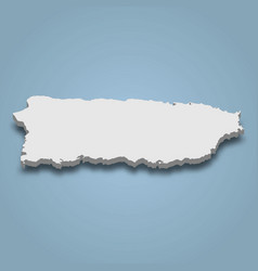 3d isometric map puerto rico is an island vector