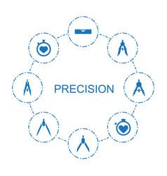 8 precision icons vector