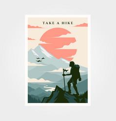 adventure travel poster vintage background design vector image