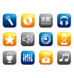 audio and music icons on buttons vector image