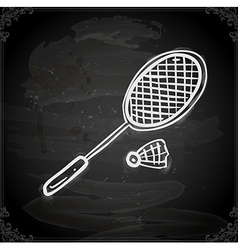 Badminton Drawing on Chalk Board vector