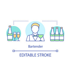 Bartender concept icon barman barkeeper idea thin vector