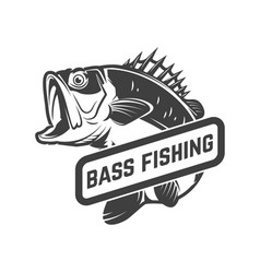 Bass fishing club emblem template with perch vector