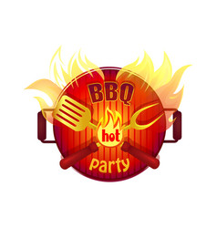 Bbq hot party barbeque icon vector