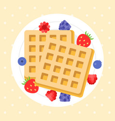 Belgium waffles with berries vector
