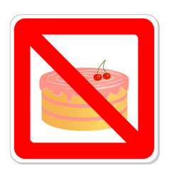 Birthday cake in prohibiting signs vector