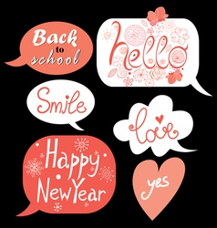 Bubbles with different greetings vector