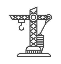 Building crane linear icon vector
