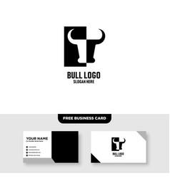 Bull logo template free business card mockup vector