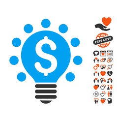 business patent bulb icon with valentine bonus vector image