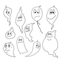 Cartoon set friendly ghosts vector