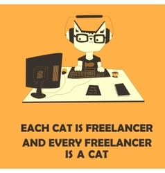 Cat freelancer vector