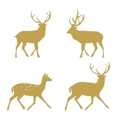 Christmas reindeer silhouettes vector image