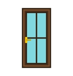 Classic interior wooden door icon flat style vector image
