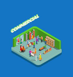 Commercial consumers isometric composition vector