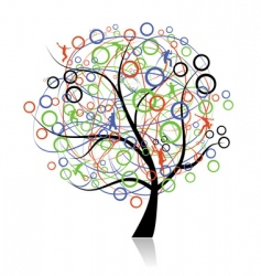 Connecting peoples web tree vector