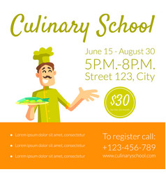 Culinary school banner template cooking classes vector