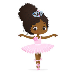 Cute african pink princess girl ballerina dance vector