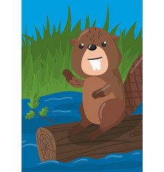Cute beaver with woodland vector