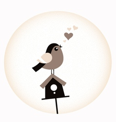 Cute Valentine Bird with a Birdhouse - retro brown vector image