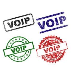 Damaged textured voip stamp seals vector