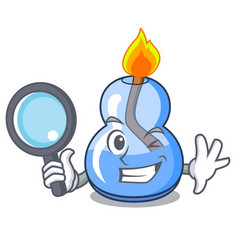 Detective alcohol burner character cartoon vector