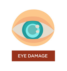 Eye damage diabetes symptom blurred pupil isolated vector