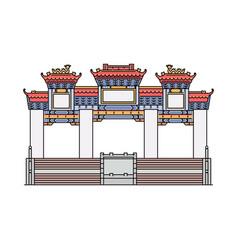 Famous hong kong temple - flat icon ancient vector