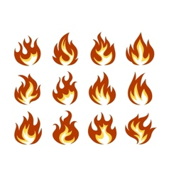 Fire Flame Icon Set in Flat Style vector