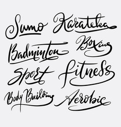 Fitness and aerobic hand written typography vector