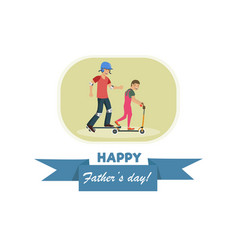 flat banner happy fathers day dad and son vector image