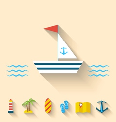 Flat set icons of cruise holidays and journey vector image vector image