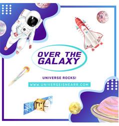 Galaxy social media design with rocket satellite vector