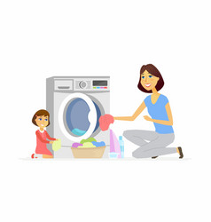Girl helps mother with washing - cartoon people vector