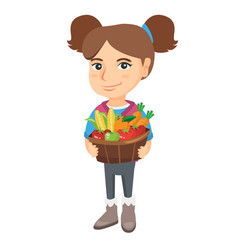 Girl holding basket with fruit and vegetables vector