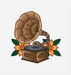 gramophone flash tattoo vector image