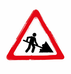 Grunge road works sign vector