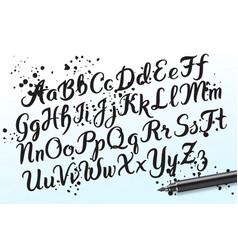 hand drawn brushpen alphabet letters vector image