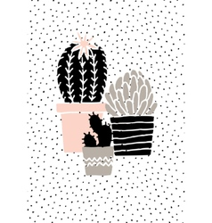 Hand Drawn Cactus Poster vector image