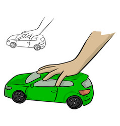 hand of a child playing a green car toy vector image