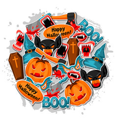 Happy halloween background with cartoon holiday vector