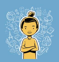 happy schoolchild school education concept hand vector image
