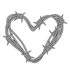 Heart in barbed wire vector image
