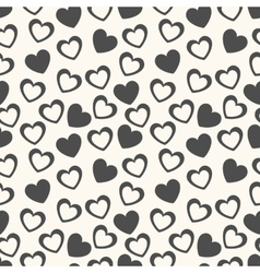 Heart shape seamless pattern Black and white vector image