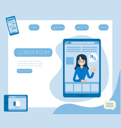 Hotline support and online female assistant vector