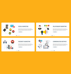 Internet banner set with marketing communication vector