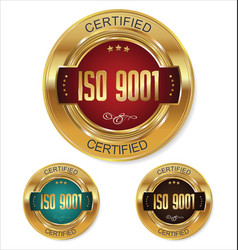 Iso 9001 certified golden badge collection vector