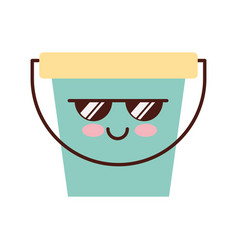 Laundry bucket kawaii character vector
