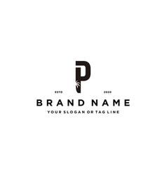 Letter p palm logo design concept vector